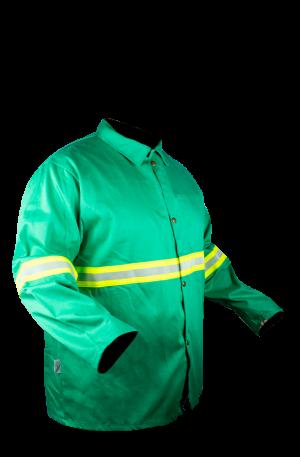 ATF1009-S Chamarra Antiflama Verde con banda reflejante